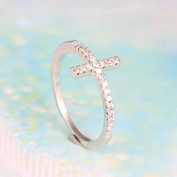 Religious Ring - White Gold Plated Simple and Stylish Sideways Zircon Cross Ring