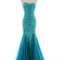 New Pink Mermaid Cocktail Evening Prom Ball Party Dresses Bridal Wedding Gown