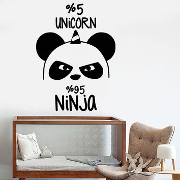 Vinyl Wall Decal Funny Panda Bear Ninja Nursery Unicorn Stickers Unique Gift (1097ig)