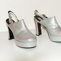 90s Hologram Holographic Platform shoes