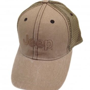 Jeep Dark Beige Mesh Cap | Hats & Caps | Jeep Apparel | My Jeep Accessories