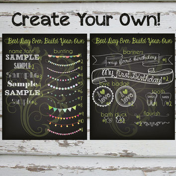 Create Your Own Customized Chalkboard First Second Third Fourth Birthday Poster - Boy or Girl Digital File