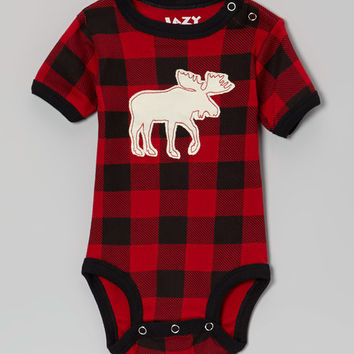Lazy One Red & Black Buffalo Check Moose Bodysuit - Infant | zulily