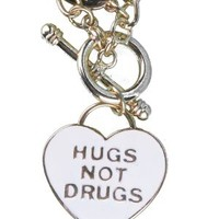 Local Celebrity HUGS NOT DRUGS Heart Shaped Necklace-Gold Tone Jewelry
