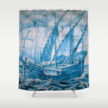 Portuguese Caravela Shower Curtain by Tony Silveira