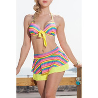 Sexy Halter Rainbow Women's Striped Two-Piece Swimsuit