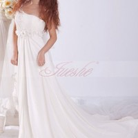 Flowing One Shoulder A-line Chiffon Beach Sweep Train Wedding Dress with Flowers JSWD0089 -JuesheGowns.com