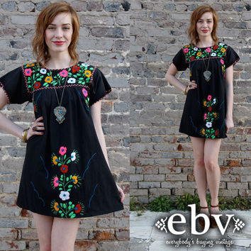 Vintage 70's Black Mexican Embroidered Hippie Boho Mini Dress S M