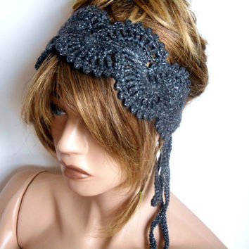 Knit headband, Crochet Hair Band, Grey Hair Band, Handmade, Luminous Hair Bands, Hair Accessories, Headband, Hair Band, Bandana