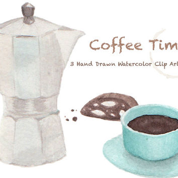 Coffee Time Watercolor Clip Arts for Scrapbooking Digital Files