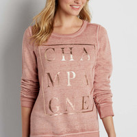 burnwash pullover sweatshirt with champagne graphic | maurices