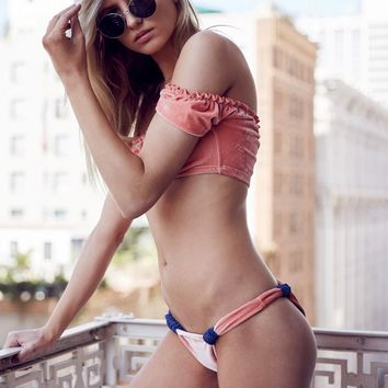 Honey + Luna - Rose Peach Velvet Bikini Set