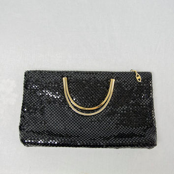 Vintage 1980's Black Mesh Clutch Bag Gold Handles
