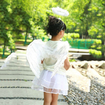Feather Angel Fairy Wings Wand Halo Set 3Pcs Halloween Party Fancy Dress Costume COCKCON