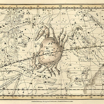 Cancer zodiac astrology art signs of the zodiac star map old prints Home decor wall print poster antique print zodiac art celestial art12x16