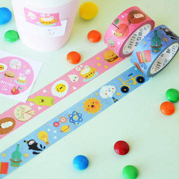 Kawaii Pink Blue Washi Tape Set, Kawaii Food, Masking Tape, Planner Tape, Deco Tape, Cute Washi, Washi Tape Set