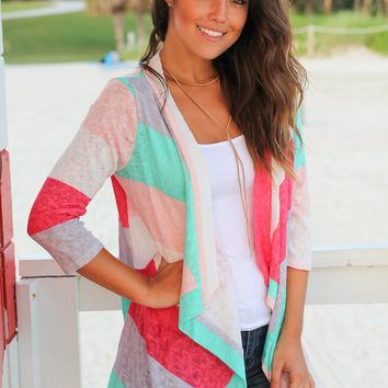 Mint and Coral Cardigan