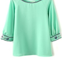 Embroidered Chiffon Blouse - OASAP.com