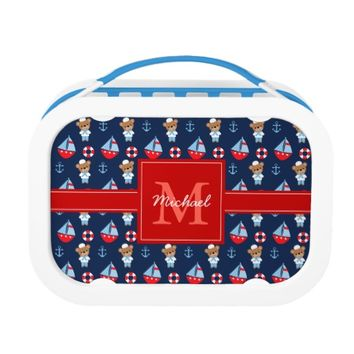 Sailboats and Bears Pattern Monogrammed Yubo Lunch Box