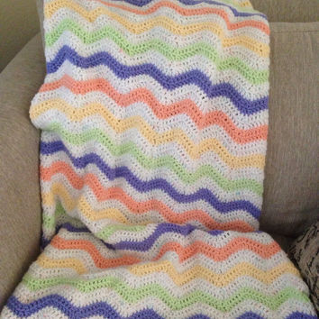 Pastel Crochet Chevron Ripple Blanket