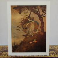 Vintage Witch Samhain Halloween Greeting Card