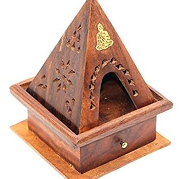 Govinda Wooden Temple Buddha Burner - Storage Compartment