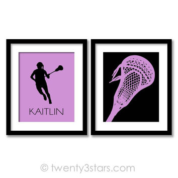 Girl's Lacrosse Wall Art Pair - Choose Any Colors - twenty3stars