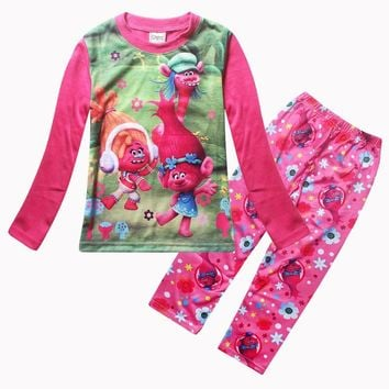 CNJiaYun Trolls Girls Pajama Sets Spring Cartoon Cotton Clothing Set For Girls Long Sleeve Shirt Pants 2 Pieces Kids Clothing