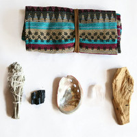 Large Ceremonial Travel Altar Kit: Andean fabrics with palo santo, sage and selenite//  ceremony, smudge, smudging