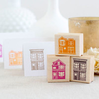 Victorian House Stamp Set - Handcrafted and Wood Mounted - Great for Place Cards Scrapbooking Gift Tags We've Moved Cards