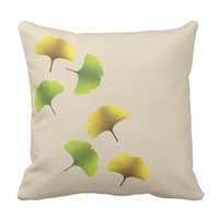 Ginko leaf throw pillow