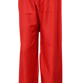 Women's Boho Sexy Red Smocked Waist Baggy Hippi Harem Pants