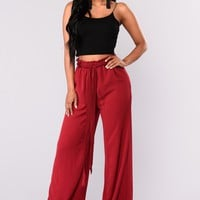 Soho Tie Waist Pants - Oxblood