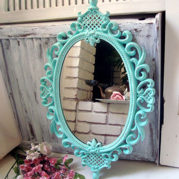 Aqua Blue Ornate Oval Mirror, Teal Vintage Oval Mirror, Shabby Chic Distressed Mirror