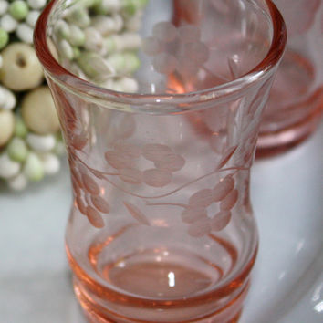 Coral Crystal Cordials / Etched Crystal / SET of 4 / Elegant Barware