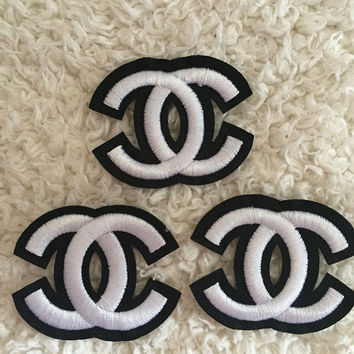 Chanel black and white iron on sew on patch