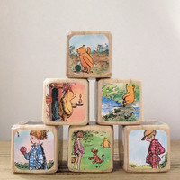 Winnie the Pooh The House at Pooh Corner // Childrens Book Blocks // Natural Wood Toy