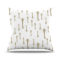 "Suzanne Carter ""Vintage Gold Keys II"" White Yellow Outdoor Throw Pillow"