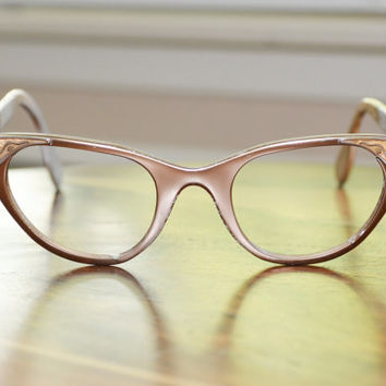 Vintage Tura Gold with Leaf detail Cat Eyeglasses 1950s 1960s