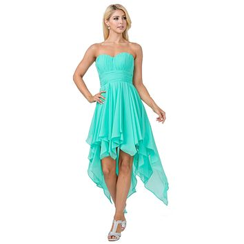 Multi Layer Chiffon Bridesmaid Dress Mint High Low Strapless