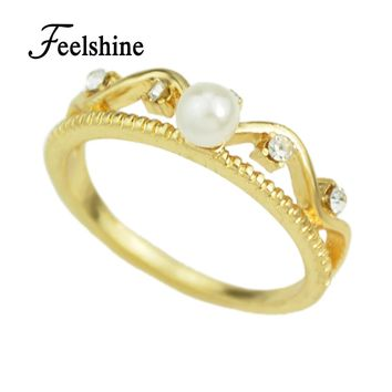 Romantic Crown Simulated Pearl Ring for Women