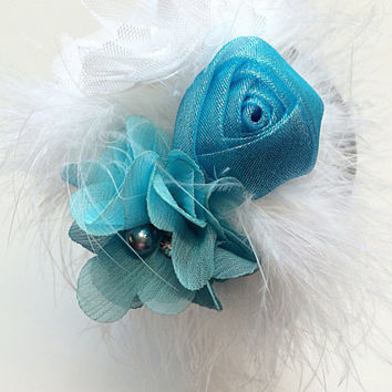 Ice Princess Headband for Girls - Over the Top Headband - Aqua Flower Head Band - Sparkle Flower Headband - Satin Lined Headband -