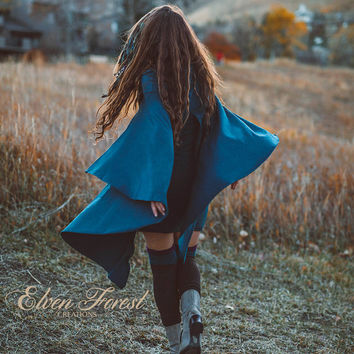 Hooded Cape Dress ~ Elven Forest, cowl hood, Festival clothing, Elven clothing, Gypsy dress, Goa, Enchanted, fairytale
