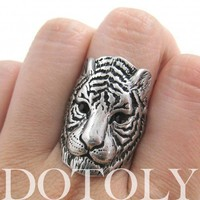 Tiger Cat Animal Ring in Silver - Sizes 6 and 7 available | dotoly - Jewelry on ArtFire