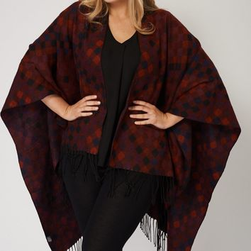 Fringed Poncho With Diamond Patch Pattern