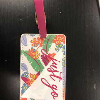 Just Go Pink Floral Suitcase Tag