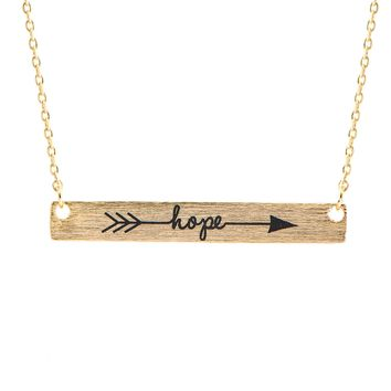 Handcrafted Brushed Metal Etched Hope on Bar Necklace