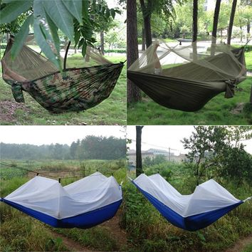New Portable High Strength Parachute Fabric Hammock Hanging Bed with Mosquito Net 3 Colors