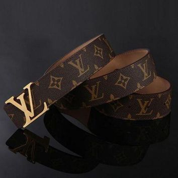 GPV9O LV Louis Vuitton Men's and Women's Fashion Trendy Buckle Belt Belt F