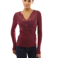Lace V Neck Long-Sleeve Shirt
